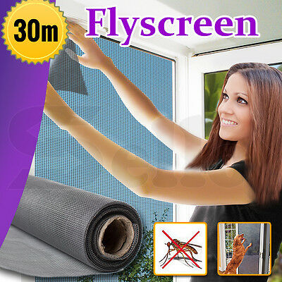 100ft / 30m ROLL INSECT FLYWIRE WINDOW FLY SCREEN NET MESH FLYSCREEN