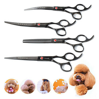 "4x 7"" Pro PET DOG Grooming Hair Cutter thinning Scissors set Curved Tool Shears"