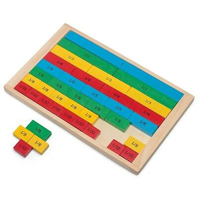 Wooden Fractions Board Educational Maths Learning Fun
