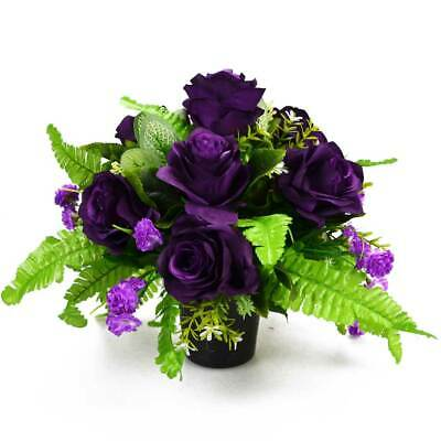 Artificial Flower Graveside Pot with Purple Roses Cemetery Memorial Grave