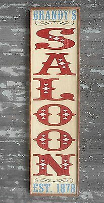 "PERSONALIZED w/ NAME SALOON BAR OLD WESTERN VINTAGE RUSTIC NEW WOOD SIGN 13""x49"""