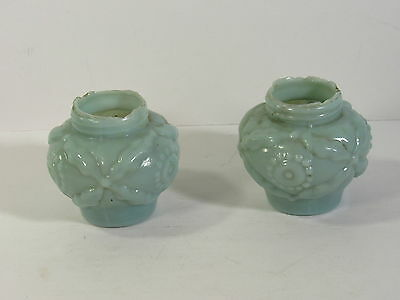Pr Matching Victorian Art Glass Shakers - Blue Mold Blown - Eagle Glass Co (?)