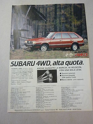 ADVERTISING PUBBLICITA' SUBARU 4WD, alta quota a trazione integrale  --1982