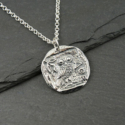 Greek Coin Necklace - athena jewelry, greek owl pendant, silver owl necklace