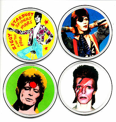 4  BOWIE DRINKS COASTERS. 70's pop, glam rock.