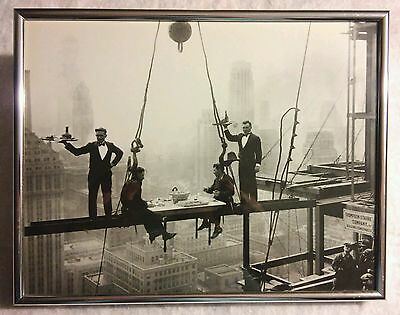 "RARE VINTAGE PHOTO POSTER - Skyscraper Lunch - Metal Frame Glass 12""X9.5"""