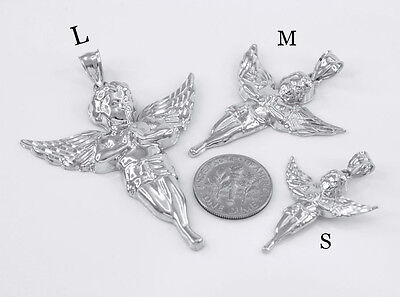 Sterling Silver Diamond Cut Angel Pendant ( Small, Medium, Large ) Made In USA