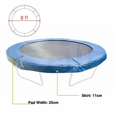 NEW 8ft REPLACEMENT REINFORCED OUTDOOR ROUND TRAMPOLINE SAFETY SPRING PAD COVER