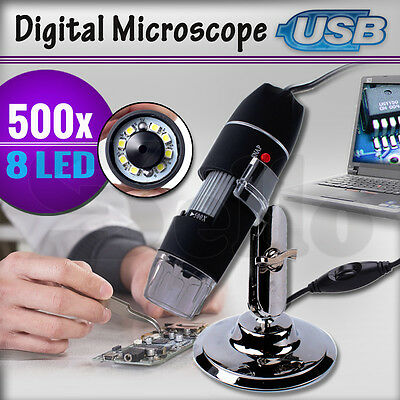 500X 8 Digital LED USB Microscope 2MP Endoscope PC Camera Video Zoom Magnifier