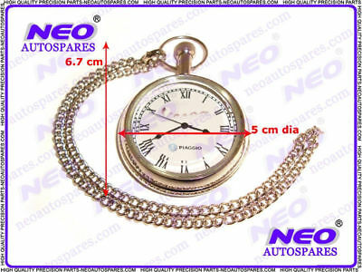 Vespa Brass Pocket Watch Chromed + Chain Piaggio Logo @ Classic Spare Parts
