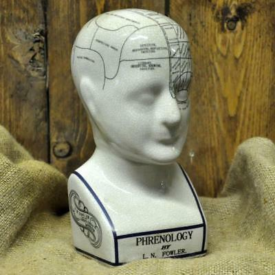 L N Fowler Large 12 Inch Ceramic PHRENOLOGY HEAD Ideal for Medical Student Gift
