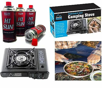 Portable Gas Stove Cooker & 4 Butane Bottles BBQ Camping Party Burner Outdoor