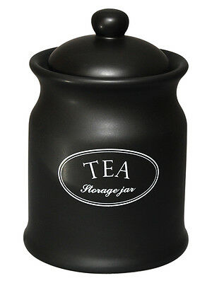 Tuftop Company Ascot Black Tea Storage Canister Jar Caddy Container Ceramic New