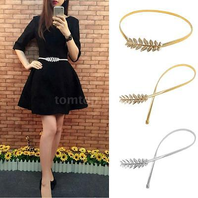 Fashion Women Lady Metal Waist Belt Strap Elastic Stretch Leaves Waistband HOT