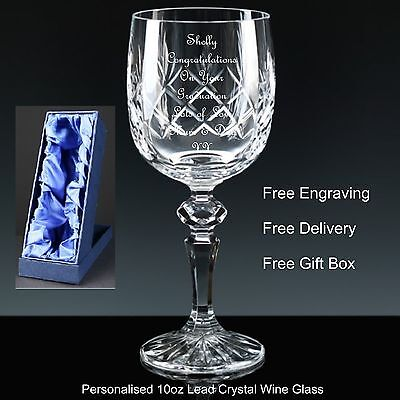 Personalised 10oz Cut Crystal Wine Glass Graduation Gift In Satin Lined Gift Box
