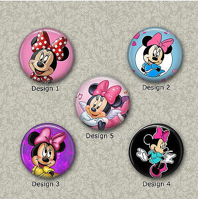 5 x 25mm Minnie Mouse Glass Or Resin Cabochons for Jewellery Making 3 Sets