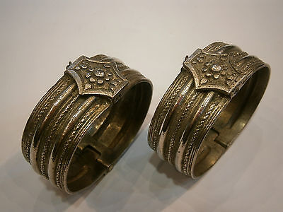 lot 2 ANTIQUE RARE SILVER 19th OTTOMAN/GREEK BRACELETS BANGLES HERRINGBONE MARK
