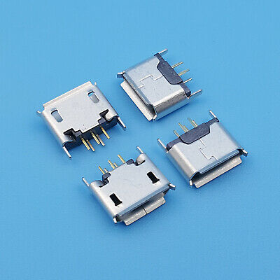 10Pcs Micro USB Type B 180 Degrees DIP 5Pin Female PCB Solder Socket Connector