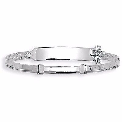 """9ct White Gold Engraved Baby ID Bangle Christening Cross Expanding 5.5"""""""