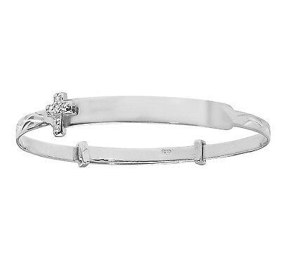 925 Sterling Silver Personalised Baby Christening Expanding ID Cross Bangle 5.5""