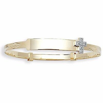 9ct Gold Baby id Bangle Personalised Engraved Christening Cross Expanding 5.5""
