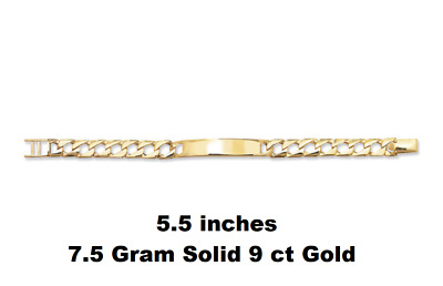 "9ct Yellow Gold Personalised Baby ID Bracelet Christening FREE ENGRAVING 6"" NEW"