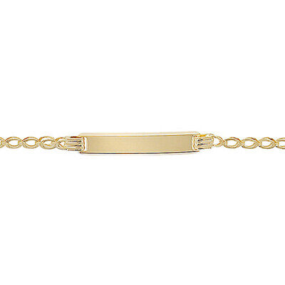 "9 Carat Hallmarked Gold Baby ID Curb Chain Bracelet 5.5"" Engraved Christening"