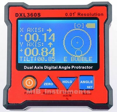 DXL360S Digital Protractor Inclinometer Dual Axis Level Box 0.01° Hi-resolution