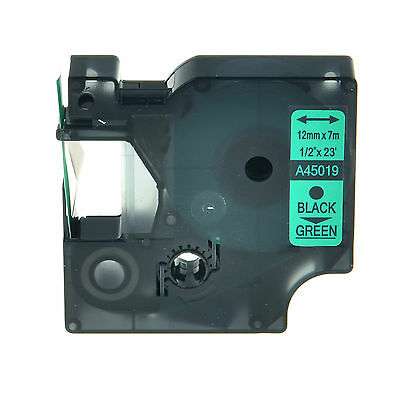 Compatible For DYMO D1 45019 LabelManager 210D 220P Black on Green Label Tape
