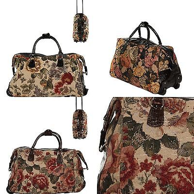 Luggage Beaded Flower Fabric Carry on Bag Two Wheels Alligator Leatherette Trim