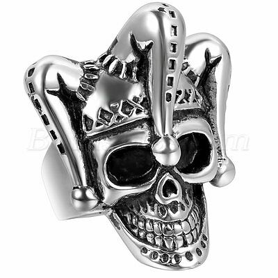 Men's Gothic Biker Punk Stainless Steel Vinatge Clown Skull Ring Band Size 7-12