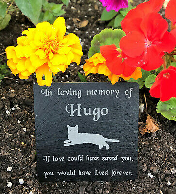 Personalised Engraved Pet Memorial Slate Grave Marker Plaque Cat Dog Rabbit