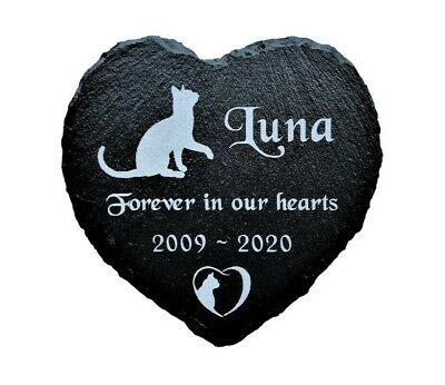Personalised Engraved Pet Memorial Slate Heart Grave Marker Plaque Headstone Cat