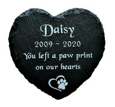 Personalised Engraved Slate Stone Heart Pet Memorial Grave Marker Plaque Dog Cat
