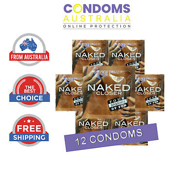 """12 Condoms. """"Four Seasons NAKED CLOSER Condom"""". (Small Size, Tighter Fit)."""