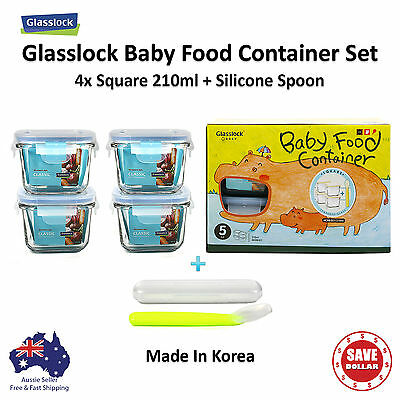 Glasslock 5P Baby Meal Square Tempered Glass Food Container Storage Gift Set