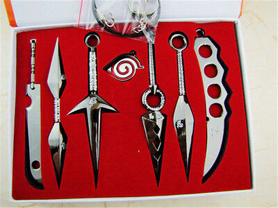 New Anime Cool Naruto Pendant Necklace Weapons 6pcs Set With Box Two Colors