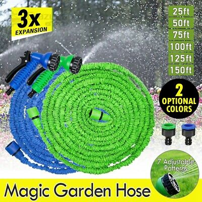Flexible Auto Expandable Water Garden Hose Pipe 7 in 1 Reel Spray Nozzle Head