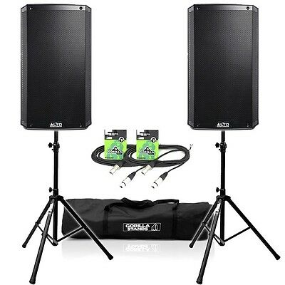 """Alto TS215 Active 15"""" 1100W PA DJ Disco Speakers (Pair) inc Stands & Cables"""