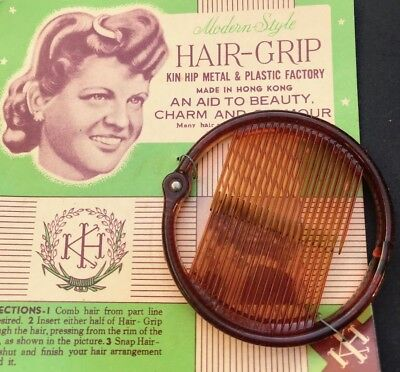 "Vintage 18cm Ring Grip ""Modern Style HAIR-GRIP AID TO BEAUTY CHARM AND GLAMOUR """