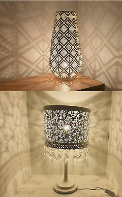 Moroccan Vintage Jeweled Cutwork Bronze Flower Table Lamp With Multi