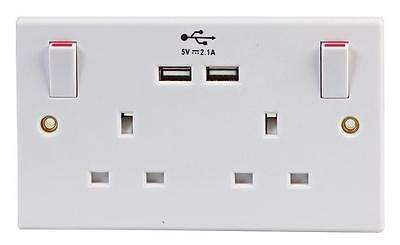 USB Double Wall Socket Switched 2 Gang Faceplate 13A with 2 USB Outlets Ports