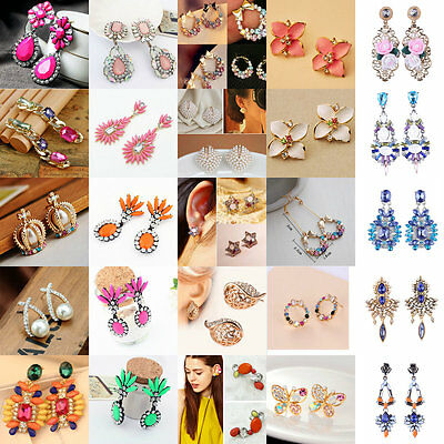 1 Pair Gold/Silver Plated Women Crystal Rhinestone Earrings Fashion Jewelry