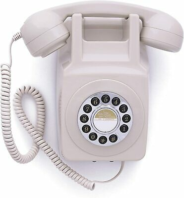 GPO 746 Push Button Dial Retro Wall Mounted Phone - Ivory Cream 746WP Telephone