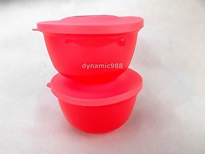 New Tupperware Small Round Saver Container Set 400ml Dark Pink 2 pcs Limited