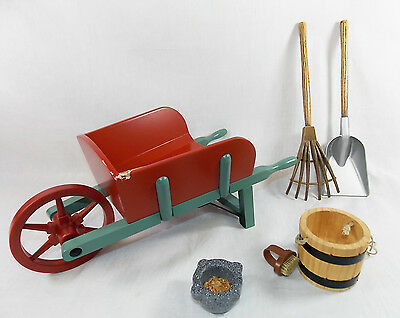 "American Girl FELICITY STABLE 6 PIECES for 18"" Dolls Wheel Barrow Brush Rake"