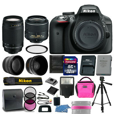 Nikon D3300 DSLR Camera +18-55mm VR +70-300mm +32GB 4 Lens Top Value Girls Kit