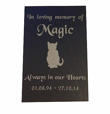 "Personalised Engraved Pet Memorial Slate Grave Marker Plaque 7 x 4"" Cat Dog Pets"
