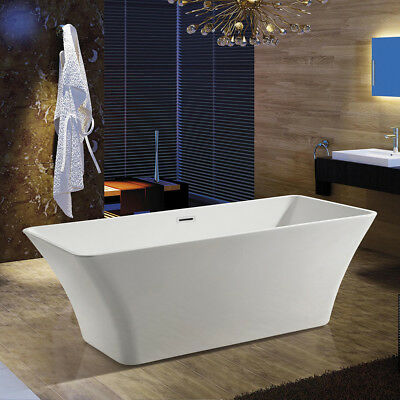 "67"" Bathroom Rectangle Freestanding White Acrylic Modern Shower Spa BathTub"
