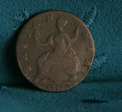 Great Britain 1/2 Penny 1753 Copper World Coin UK Seated Half Cent GB England